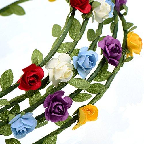 10 Stück Mehrfarbig Blume Krone Floral Kranz Stirnbänder Floral Girlande für Festival Hochzeit Party