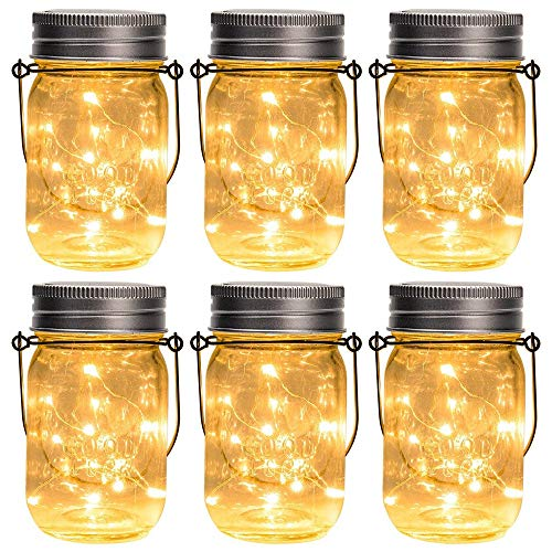 (Mr.Fragile Solar Laterne Einmachglas Hängen Lichter, 6 Pack Fairy Firefly Starry LED String Glas Lichter, Für Einmachglas Patio Gartenlaternen Hochzeit Tisch Dekor Licht)