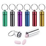 Pilulier Porte-clés, Wolintek 7pcs Pilulier étanche Aluminium Boîtes Cache des Porte-conteneurs de Porte-clés Colorés