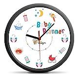 Wand-Uhr Baby-Planer, tolle Kinderwanduhr für Eltern als Dekoration für das Kinderzimmer