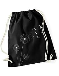 Turnbeutel Pusteblume Vögel Birds Hipster Beutel Tasche Jutebeutel Dandelion Gymsac Stringbag Drawstring Autiga®