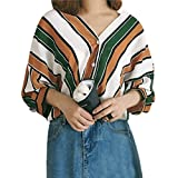 UFACE Damen Mode-Frauen-beiläufige Streifen-Knopf-Oberseiten T-Shirt Oberseiten-Hülsen-Bluse Frauen-beiläufige Gestreifte Lange Hülsen-Oberseite(Gelb,EU/48CN/XL)