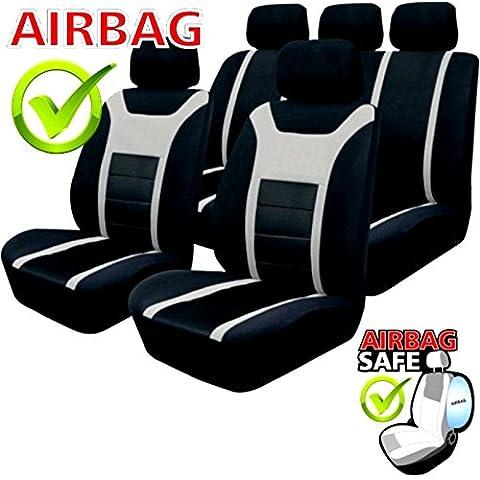 kmhsb201–Asiento Puf Set Negro/Gris de asiento con airbag páginas para Seat Cordoba Leon EXEO ST Altea XL Ibiza