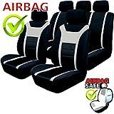Akhan SB201 Auto Sitzbezug mit Seitenairbag, Schwarz/Grau