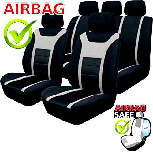 Preisvergleich Produktbild Akhan SB201 Qualität Sitzbezug Set passend auch für Fahrzeuge mit Seitenairbag Schwarz / Grau