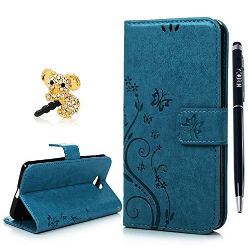Price comparison product image Nokia Lumia 650 Case, YOKIRIN Premium Soft PU Leather Notebook Wallet Cover Case with [Kickstand] Credit Card ID Slot Holder Magnetic Closure Butterfly Vintage Flower Design Folio Flip Protective Slim Skin Cover for Microsoft Nokia Lumia N650(& Stylus Touch Screen Pen & Dust Plug),Blue