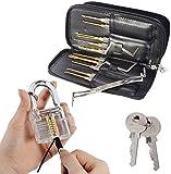Drillpro Lock Pick Set & Practice Pad Lock,24pcs Single Hook Lock Pick Set Locksmith Tools Lock Pick Kit Lock Tools Multicolour