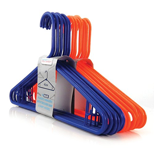"Hangerworld Mixed Pack of 40 Orange & Blue Plastic Coat Clothes Hangers with Trouser / Skirt Bar & Loop Hooks 42cm (16"")"