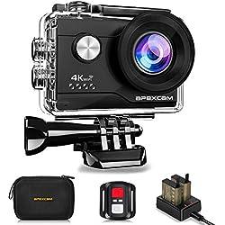 Apexcam 4K 20MP WIFI Caméra Sport Sous-marine 40M Étanche Caméra de Sport Ultra HD 170 ° Grand Angle 2.4G Télécommande 2 Batteries Rechargeables 1050mAh 2.0 '' Ecran LCD et Kit d'accessoires