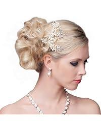 SEXYHER Atemberaubende Haar-Kamm mit Blumen und Perlen - SH-DL-H0566