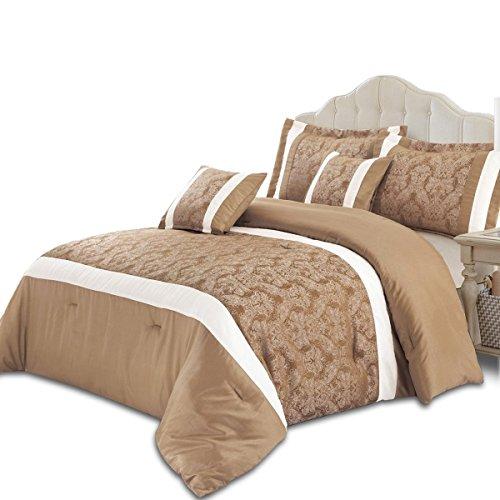 Supreme Betten Opulence Jacquard 3 Stück Tröster Tagesdecke Set-Top-Qualität Betten, Jaquard-Gewebe, Beige, Super King 260 x 270 (Beige Tröster)