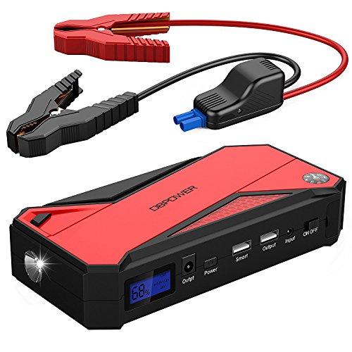 DBPOWER 600A 18000mAh Tragbare Auto Starthilfe Autobatterie Anlasser, Akku Ladegerät mit Kompass, LCD Display und LED Taschen für Laptop, Smartphone(Schwarz/Gelb) (Schwarz/Rot)