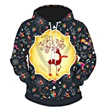 Giacche Unisex da Donna 3D Cappucci Stampa Digitale Natale Lovers Slim Leather Jacket Capispalla con Cappuccio Inverno Qinsling