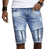 LEIF NELSON Herren Männer Jungen Sommer Kurze Biker Jogger Jeans Hose Shorts Jeanshose Chinos Cargo Bermuda Basic 5-Pocket Destroyed Used Stretch Freizeithose Denim Slim Fit LN9155; W33; Blau