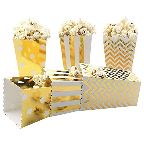 RemeeHi 8Candy Farbe Folie Gold 22,9cm quadratisch Pappteller Kuchen Dessert Vorspeisen Stabile Wachs Beschichtete Pappteller Party, Popcorn Box, Popcorn Box - Beschichtete Popcorn