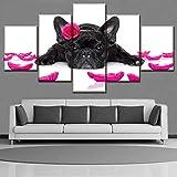 Lienzo Impreso Cuadro Modular Decoración Marco Arte de la pared 5 Panel Animal Bulldog Francés y Pétalo Cartel Moderno Decoración para el hogar Obra