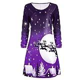 TUDUZ Damen Weihnachtskleid Langarm Xmas Print Ausgestelltes Weihnachten Midikleid Abendkleid