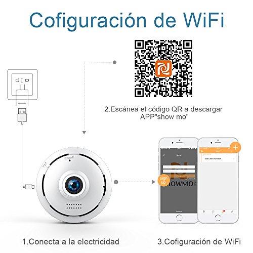 960P HD IP Wifi Cámara de Seguridad Inalámbrico FREDI Cámara de Vigilancia Panorámica de 360 grados Deteccion de Movimiento con Visión Nocturna de Infrarrojos /2 way talking/para Monitorización Doméstica / de Bebé y Mascotas