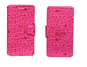J Cover Teddy Series Leather Pouch Flip Case With Silicon Holder For Xiaomi Mi4i Pink
