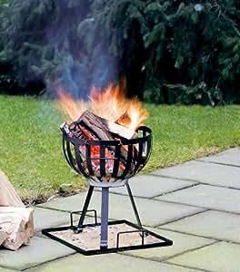 Feuerkorb mit Grill - Stahl, 33 x 44 x 33 cm, schwarz/chrom