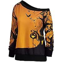 JYC-Sudaderas Para Mujer,Mujer Halloween Fiesta Sesgar Cuello Calabaza Impresión Sudadera Saltador Pullover Tops