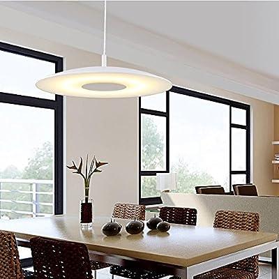 LED Pendant Light Modern Simple Round Steel Glass Shade,Hanging Line Adjustable,White
