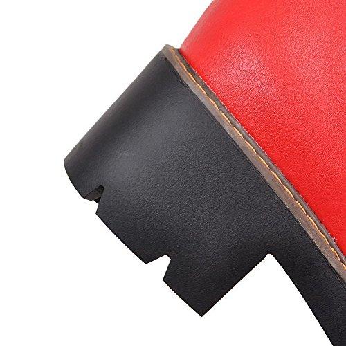 VogueZone009 Femme Matière Souple Rond Haut Bas à Talon Correct Bottes avec Boucle Rouge