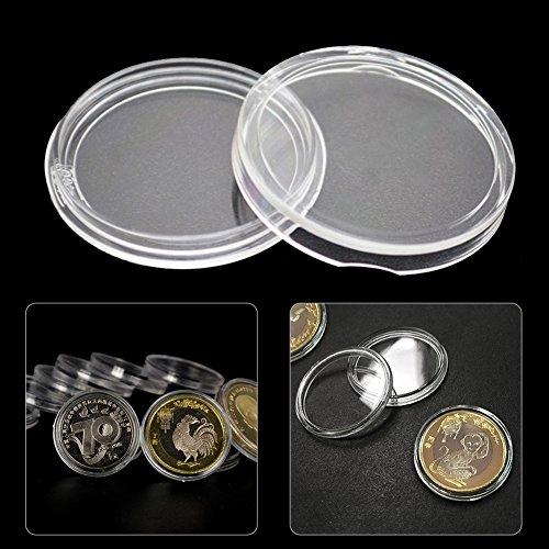 50 stücke 44mm münz kapseln runde münzfall acryl münze vitrine kunststoff bitcoin sammlung halter lagerbehälter für sammler von yunhigh (Farbe Kunststoff-lagerbehälter)