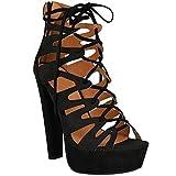 Neu Womens Damen High Heels Plattform Gladiator Sandalen Schnür Stiefel Schuh Größe - Schwarz Kunstwildleder, 38