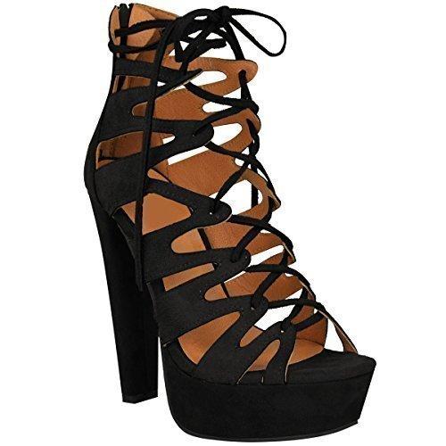 New Womens Damen High Heels Plattform Gladiator Sandalen Schnür Stiefel Schuh Größe - Schwarz Kunstwildleder, 37