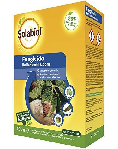 Solabiol - Fungicida/bactericida de cobre 100% orgánico (50% Oxicloruro de Cobre) con acción preventiva y curativa, formato de 500g
