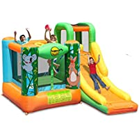 Duplay Jungle Adventure 10ft Kids Bouncy Castle with Slide and Basketball Hoop