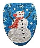 YiyiLai 43*48cm Schneemann Design Toilettendeckelbezug Weihnachtsschmuck Weihnachtsdeko Toillete Set Sitzbezug Weihnachten Blau B