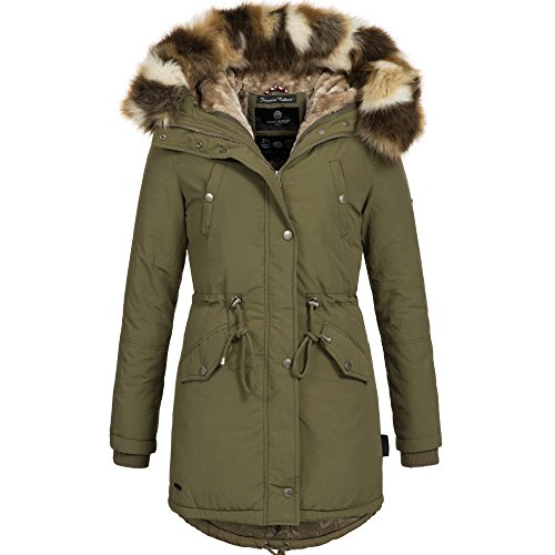 WOW 16in1 Jacke Marikoo Damen Winter Jacke Parka Mantel Fell Winterjacke B370