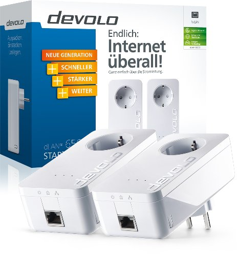 Devolo dLAN 650+ Starter Kit PowerLAN-Adapter (600 Mbit/s, 2 Adapter im Set, GB LAN Port, Steckdose, Datenfilter, Netzwerk, Powerline) weiß