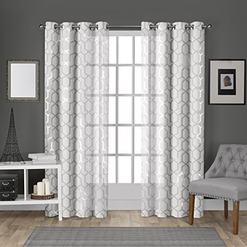 Exclusive Home Vorhänge Tülle Top Fenster Vorhang Panel Paar, Polyester, Winter White, Silver Print, 54x108
