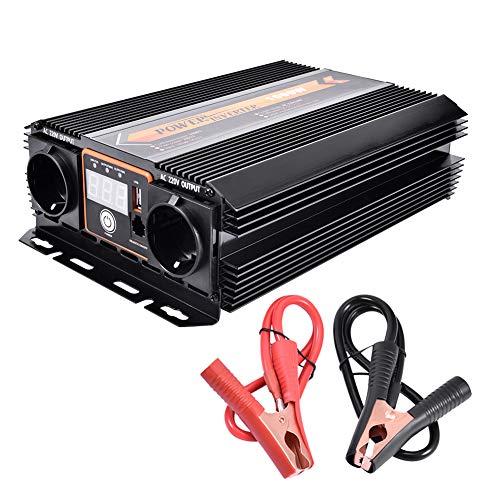 WZTO Wechselrichter 1000W Spannungswandler DC 12V auf AC 220V TÜV Zertifiziert Inverter Auto mit Steuerbare Schalter und USB Anschlüsse inklusive Autobatterie Clips Schwarz