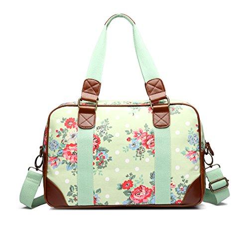 Miss Lulu Handtasche, Schultertasche, Damen, Eule, Schmetterling, Blumen, gepunktet, Wachstuch. Zum Reisen, über Nacht, Wochenende, Schultasche - Flower Green