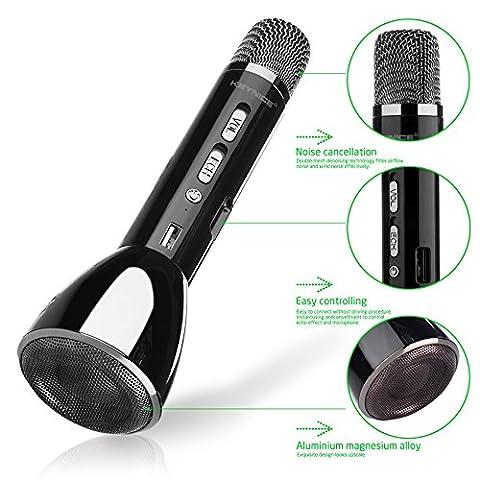 Keynice Microphone Bluetooth sans fil / commandes dynamiques / Microphone pour Karaoké compatible avec les smartphone Android, Apple Iphone, et tous les smartphones pour pouvoir chanter tout le temps et partout