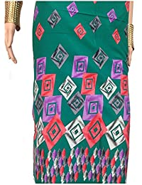 Kurti Material Blouse Fabric Pure Cotton colour fast, green base, art print