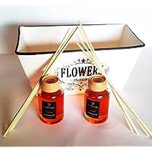 2 ambientadores larga duracion 30ml c/u (hasta 45 dias) aroma CANELA + varitas perfumadas + bandeja decorativa FLOWERS (18 x 10 cms)