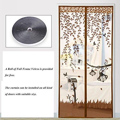 Eqeq schermo magnetico porta anteriore porta tenda a maglie con heavy duty full frame tenere in velcro da mosche bug si adatta le dimensioni della porta-mi 130x200cm(51x79pollici)