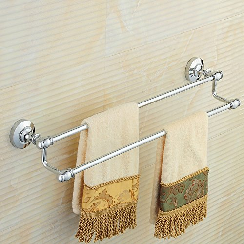 FUFU Barres de Serviette toutes les étagères de toilette barre de serviette en cuivre double tige européenne pendentif serviette de bain matériel rack salle de bains(40cm / 50cm / 60cm / 70cm / 80cm / 90cm/100cm) ( taille : 60 cm )