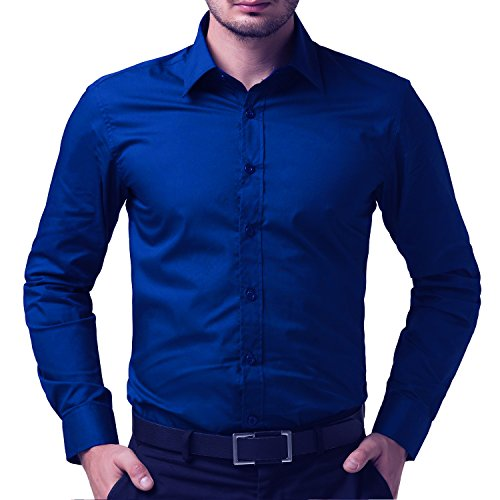Being-Fab-Mens-Solid-100-Cotton-Regular-Fit-Casual-Royal-Blue-Shirt