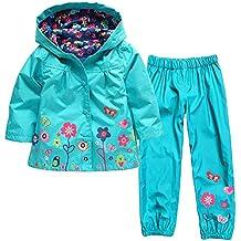 YanHoo Ropa para niños Chaqueta Impermeable con Capucha y Chaqueta Impermeable con Capucha y Flores de