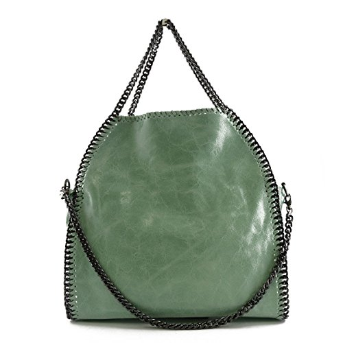 Borsa Donna In Pelle A Tracolla Colore Menta - Pelletteria Toscana Made In Italy - Borsa Donna
