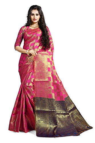 Ruchika Fashion Women's Kanjivaram Silk Saree with Blouse Piece Material (Mimosa-Variations, Dark Pink)