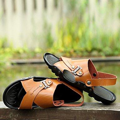 LvYuan Da donna Sandali PU (Poliuretano) Primavera Estate Basso Bianco Nero Giallo Marrone scuro Meno di 2,5 cm Dark Brown
