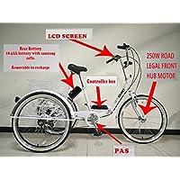 Triciclo plegable eléctrico para adultos, ruedas de 24 pulgadas, sistema de cambios Shimano de