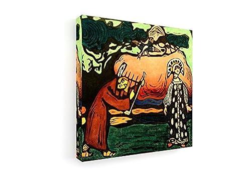 Wassily Kandinsky - Der Dulcimer-Spieler - 40x40 cm - Leinwandbild auf Keilrahmen - Wand-Bild - Kunst, Gemälde, Foto, Bild auf Leinwand - Alte Meister / (Russische Folklore Kostüme)